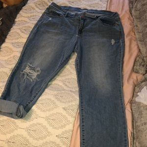 Super soft distressed straight leg low rise jeans